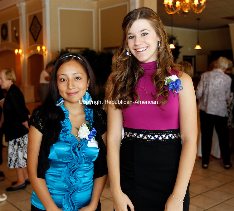 Southington, CT- 14, August 2011-081411CM09 SOCIAL MOMENTS:  L-R: Scholarship winners, Christina Cevallos (will be attending Western Conn. school of nursing), and Megan Rice (will be attending Southern Conn. school of nursing) during the Waterbury Hospital School of Nursing Alumni 100th Anniversary celebration Sunday afternoon at the Aqua Turf in Southington.   Christopher Massa Republican-American