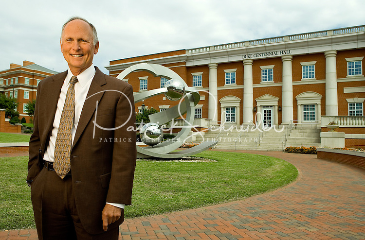 On-location portrait photography of  UNC Charlotte's Chancellor Philip Dubois on the UNC Charlotte campus in Charlotte, North Carolina.<br /> <br /> Charlotte Photographer - PatrickSchneiderPhoto.com