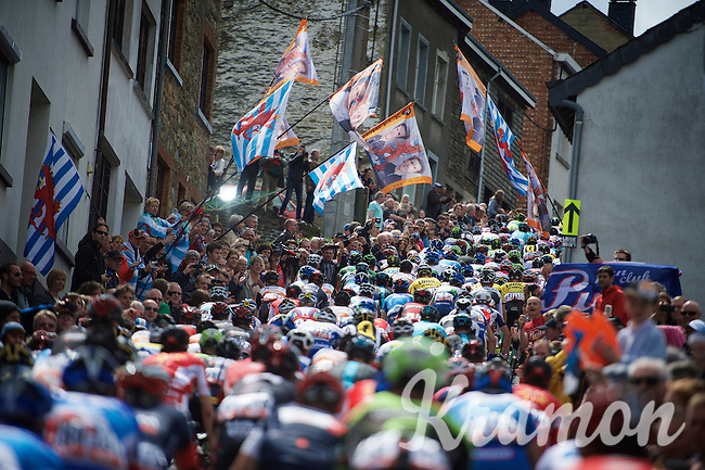 peloton up the famously crowded Côte de Saint-Roche (1850m/6.3%)<br /> <br /> 101th Liège-Bastogne-Liège 2015
