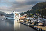 USA, Alaska, Ketchikan, a cruise ship moored at the Port of Ketchikan