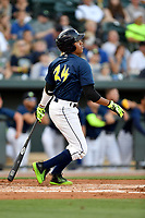 Designated hitter Milton Ramos (24) of the Columbia Fireflies bats in a game against  the West Virginia Power on Thursday, May 18, 2017, at Spirit Communications Park in Columbia, South Carolina. Columbia won in 10 innings, 3-2. (Tom Priddy/Four Seam Images)