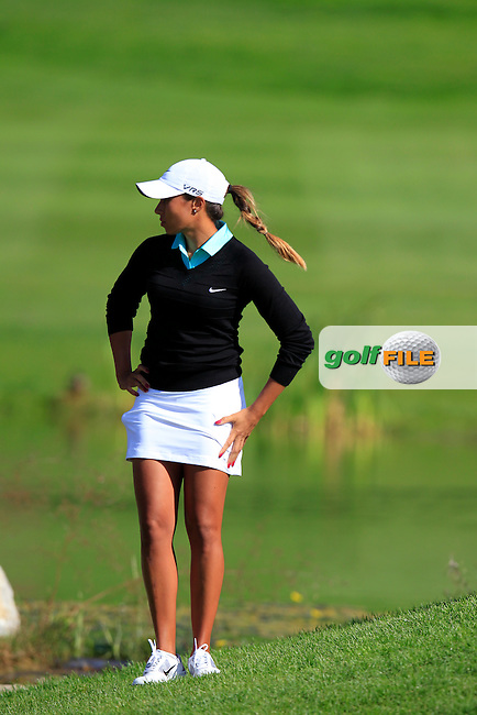 Cheyenne Woods (USA) at the 18th green during Friday's Round 2 of The Evian Championship 2014 held at the Evian Resort Golf Club, Evian-les-Bains, France.: Picture Eoin Clarke, www.golffile.ie: 12th September 2014