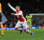 Arsenal's Alex Oxlade-Chamberlain celebrates scoring his sides opening goal<br /> <br /> Champions League - Arsenal  vs AS Monaco  - Emirates Stadium - England - 25th February 2015 - Picture David Klein/Sportimage