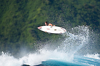 DAMIEN HOBGOOD (USA) surfing at a reef pass near Teahupoo, Tahiti, (Friday May 15 2009.) Photo: joliphotos.com