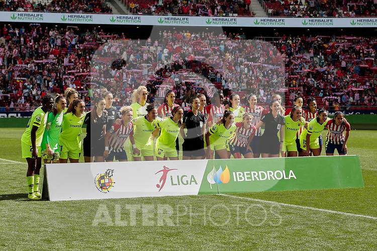 Atletico de Madrid and FC Barcelona's team photo during Liga Iberdrola match between Atletico de Madrid and FC Barcelona at Wanda Metropolitano Stadium in Madrid, Spain. March 17, 2019. (ALTERPHOTOS/A. Perez Meca)