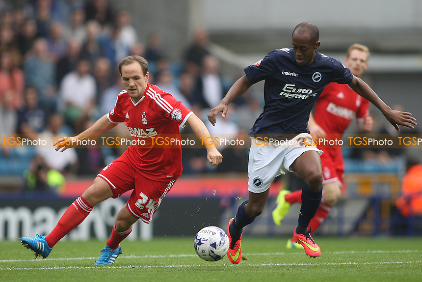 David Vaughan of Nottingham Forest and Nadjim Abdou of Millwall - Millwall vs Nottingham Forest - Sky Bet Championship Football at the New Den, Bermondsey, London - 20/09/14 - MANDATORY CREDIT: George Phillipou/TGSPHOTO - Self billing applies where appropriate - contact@tgsphoto.co.uk - NO UNPAID USE