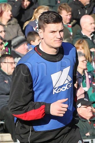 16.02.2014 Leicester, England. Gloucesters Freddie Burns  warms up during the Aviva Premiership game between Leicester Tigers and Gloucester Rugby from Welford Road Stadium.  Freddie may be on his way to Welford Road next season.