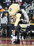 The Alabama State Hornets mascot in action during the SWAC Tournament game between the Southern Lady Jaguars and the Alabama State Hornets at the Special Events Center in Garland, Texas. Southern defeats Alabama State 58 to 39.