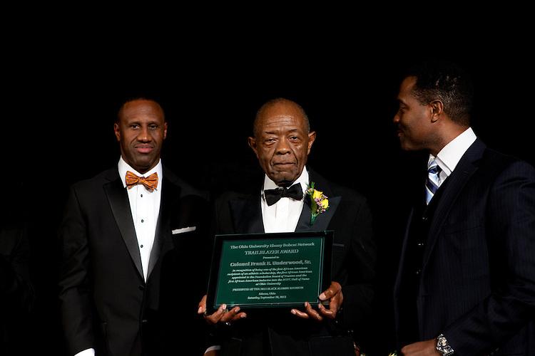 "Col. Frank E. Underwoood accepting the Ebony Bobcat Network Trailblazer award at ""Celebrating Black Heritage at Ohio University Through the Decades"" at the Black Alumni Reunion Gala in Baker Center on September 28, 2013."""