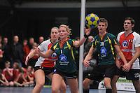 KORFBAL: GORREDIJK: Sport- en Ontspanningscentrum Kortezwaag, 12-01-2013, LDODK - TOP, Wereldtickets Korfbal League, Eindstand 22-22, Celeste Split (#6 | TOP), Marjon Visser (#1 | LDODK), Menno Russchen (#20 | LDODK), Tim Heemskerk (#23 |TOP), ©foto Martin de Jong