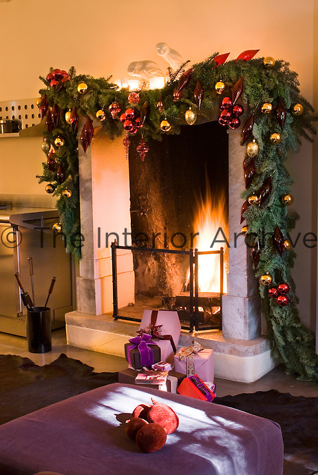 A roaring fire and beautiful decorations set the mood for Christmas celebrations