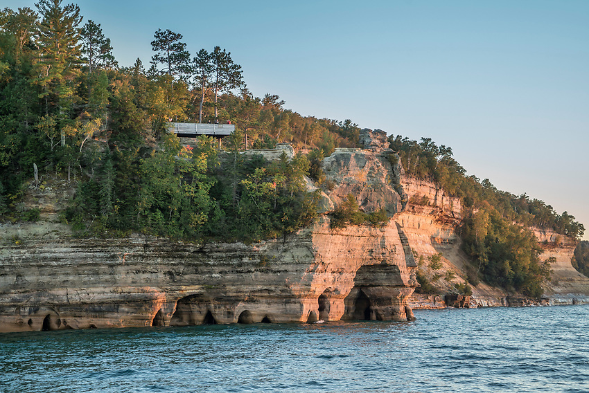 The cliffs of Pictured Rocks National Lakeshore near Munising, Michigan as seen from Lake Superior.