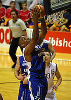 Saints import Erron Maxey takes a rebound during the National Basketball League match between the Wellington Saints and Harbour Heat at TSB Bank Arena, Wellington, New Zealand on Thursday, 29 April 2010. Photo: Dave Lintott / lintottphoto.co.nz