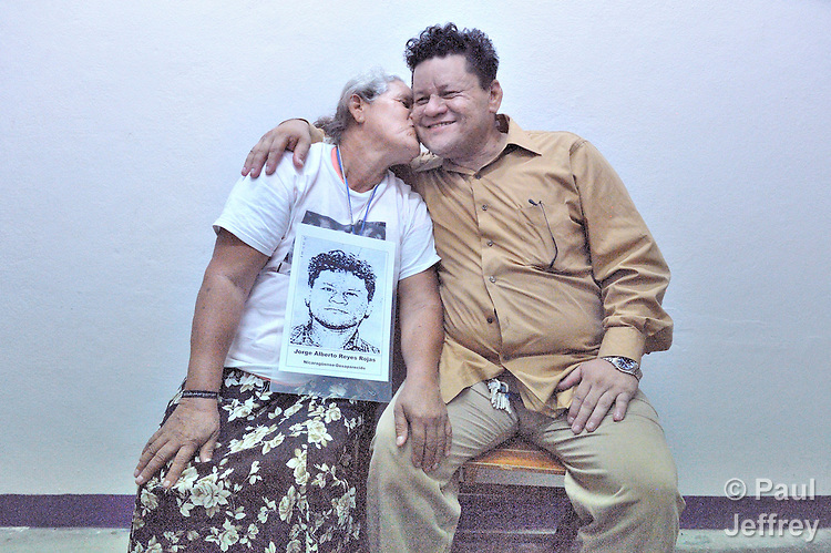 Santos del Socorro Rojas kisses her son Jorge Alberto Reyes Dávila, with whom she was reunited on December 16, 2013, in Tapachula, Mexico, after nine years of separation. Rojas, from Chinandega, Nicaragua, was one of several dozen Central American mothers who traveled as a group to Mexico to look for their loved ones who had disappeared along the migrant trail north.