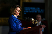 House Minority Leader Nancy Pelosi, a Democrat from California, speaks during a congressional Gold Medal ceremony for former Senator Bob Dole, at the U.S. Capitol, in Washington D.C., U.S., on Wednesday, Jan. 17, 2018. Photographer: Al Drago/Bloomberg<br /> Credit: Al Drago / Pool via CNP