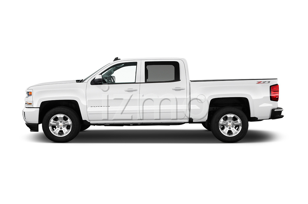 Car Driver side profile view of a 2017 Chevrolet Silverado-1500 LT-Z71-Crew 4 Door Pick-up Side View