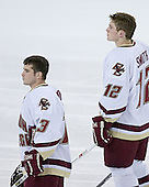 Pat Gannon 13 and Ben Smith 12 of Boston College line up for the national anthem. The Eagles of Boston College defeated the Falcons of Bowling Green State University 5-1 on Saturday, October 21, 2006, at Kelley Rink of Conte Forum in Chestnut Hill, Massachusetts.<br />