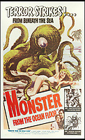 BNPS.co.uk (01202 558833)<br /> Pic: Bonhams/BNPS<br /> <br /> Monster From The Ocean Floor, 1954.<br /> <br /> A wacky collection of sci-fi and horror genre B movie posters from the 'Golden Age of Hollywood' have emerged for sale. <br /> <br /> The 15-strong assortment of obscure advertisements spans from 1933 until 1966 and are worth up to &pound;5,000 each. <br /> <br /> B movies were characterised by their low-budget and extravagant posters, which were often better received than the actual film. <br /> <br /> The most expensive is an 83ins by 39ins poster for the 1933 film Ghoul, which is expected to fetch &pound;5,000. <br /> <br /> The posters have been consigned to auction by a selection of UK sellers to auctioneer Bonhams.