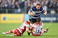 Sam Underhill of Bath Rugby is double-tackled to ground. Aviva Premiership match, between Bath Rugby and Gloucester Rugby on October 29, 2017 at the Recreation Ground in Bath, England. Photo by: Patrick Khachfe / Onside Images