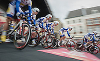 Team Topsport Vlaanderen-Baloise speeding off the start podium<br /> <br /> 12th Eneco Tour 2016 (UCI World Tour)<br /> stage 5 (TTT) Sittard-Sittard (20.9km) / The Netherlands