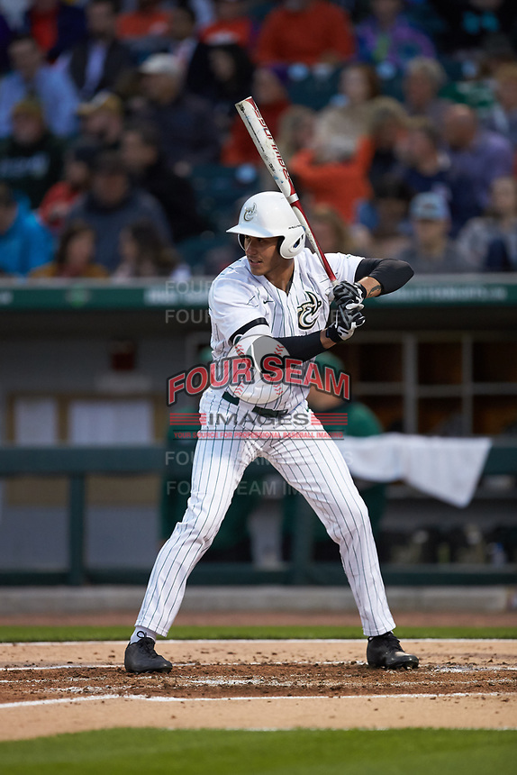 Rafi Vazquez (36) of the Charlotte 49ers at bat against the Clemson Tigers at BB&T BallPark on March 26, 2019 in Charlotte, North Carolina. The Tigers defeated the 49ers 8-5. (Brian Westerholt/Four Seam Images)