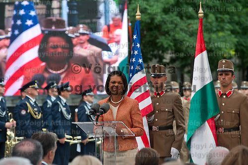 Condoleezza Rice (C) former minsiter of foreign affairs for the United States delivers her speech during the inauguration of the new statue of Ronald Reagan on the square named Freedom in Budapest, Hungary. Wednesday, 29. June 2011. ATTILA VOLGYI