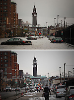 TOP a flooded street during the Huricane Sandy on Oct 30,2012. Mar 03,2015. BELOW People walk by a street in Hoboken on March 03,2015. Kena Betancur/VIEWpress.