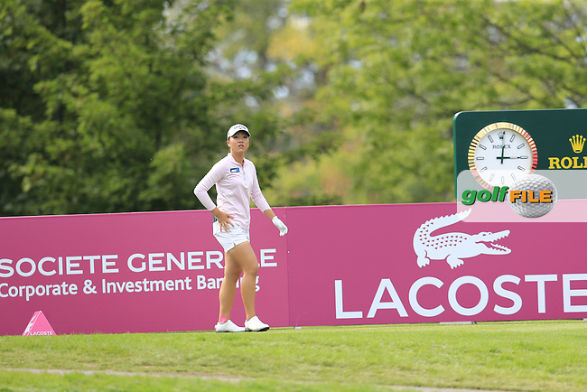 Lydia Ko (NZL) walks onto the 15th tee during Sunday's Final Round of the LPGA 2015 Evian Championship, held at the Evian Resort Golf Club, Evian les Bains, France. 13th September 2015.<br /> Picture Eoin Clarke | Golffile