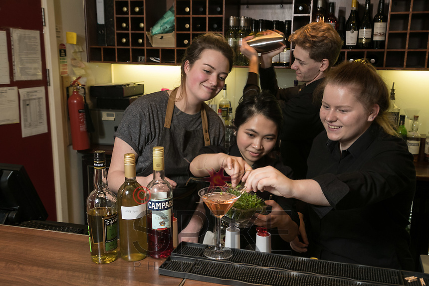 The Ruddington Arms Mixologist Grace Bond (left) creates some great cocktails with students Marianne Loa (centre) Jamie Edwards-Elvidge and Sophie Scroggie (right),at the pub's Takeover Evening at the Adams Restaurant, Nottingham