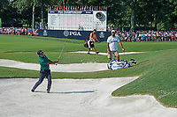 Shubhankar Sharma (IND) hits out of a sand trap on the 18th hole during the second round of the 100th PGA Championship at Bellerive Country Club, St. Louis, Missouri, USA. 8/11/2018.<br /> Picture: Golffile.ie | Brian Spurlock<br /> <br /> All photo usage must carry mandatory copyright credit (© Golffile | Brian Spurlock)
