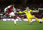 7th December 2017, Emirates Stadium, London, England; UEFA Europa League football, Arsenal versus BATE Borisov; Theo Walcott of Arsenal takes a shot passed Mirko Ivanic of BATE Borisov to score his sides 2nd goal in the 1st half to make it 2-0