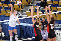 22 November 2008:  New Orleans outside hitter Dobrilla Kovacevic (8) hits a kill shot during the WKU 3-0 victory over New Orleans in the championship game of the Sun Belt Conference tournament at U.S. Century Bank Arena in Miami, Florida.