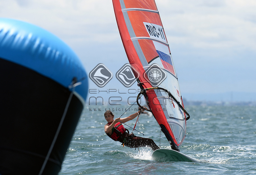 Anzhela Poludarova (RUS)<br /> Racing -Day 1 / RSX-Women's<br /> ISAF Sailing World Cup - Melbourne<br /> Sandringham Yacht Club<br /> Monday 8 December 2014<br /> &copy; Sport the library / Jeff Crow