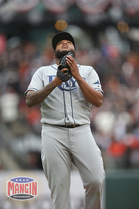 SAN FRANCISCO, CA - APRIL 5:  Jose Alvarado #46 of the Tampa Bay Rays reacts after the game against the San Francisco Giants at Oracle Park on Friday, April 5, 2019 in San Francisco, California. (Photo by Brad Mangin)