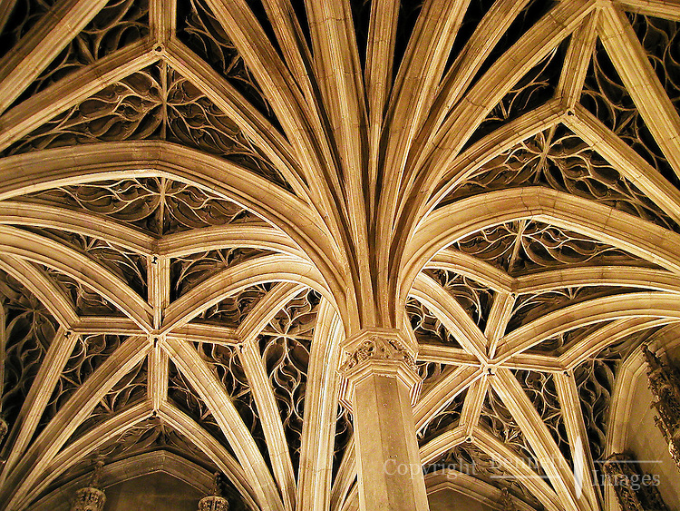 Arches form a distinct pattern on the ceiling of a small church near the town of Carnac, in Brittany, France.