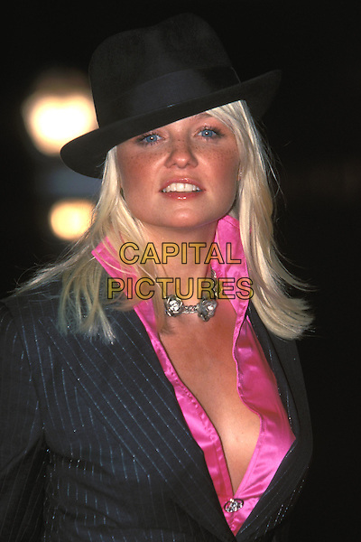 EMMA BUNTON.Ref: 10709.www.capitalpictures.com.sales@capitalpictures.com.©Capital Pictures.trilby hat, pink satin shirt