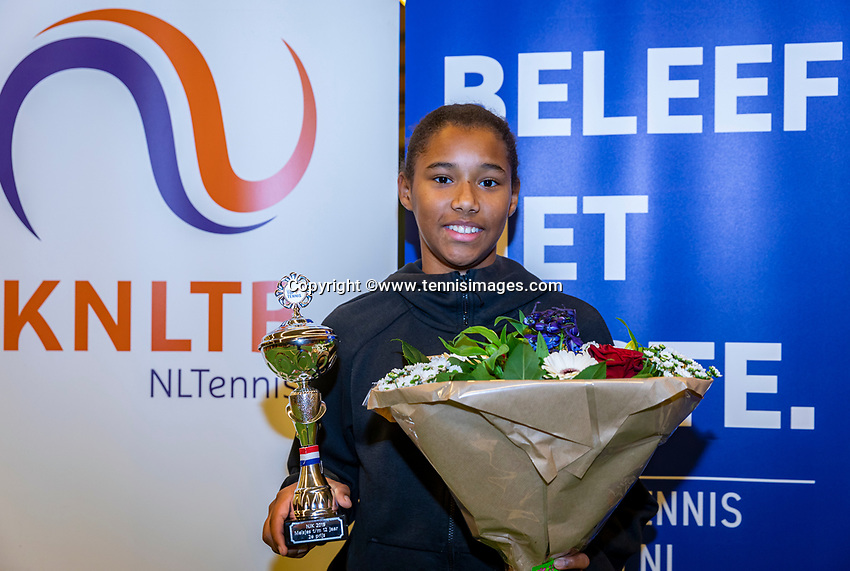 Wateringen, The Netherlands, December 1,  2019, De Rhijenhof , NOJK 12 and16 years, Runner up girls 12 years: Silver Bijlsma (NED) with the trophy<br /> Photo: www.tennisimages.com/Henk Koster