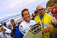 Andy Irons (HAW) defeat Sunny Garcia (HAW) in an all Hawaiian final of the annual Rip Curl Pro held at Bells Beach, Torquay, Victoria, Australia, over the Easter holiday break. Irons  jumped to the #1 spot on the world rankings after his win. (Photo: Joliphotos.com)