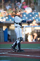 Hillsboro Hops catcher Zachary Jones (40) during a Northwest League game against the Salem-Keizer Volcanoes at Ron Tonkin Field on September 1, 2018 in Hillsboro, Oregon. The Salem-Keizer Volcanoes defeated the Hillsboro Hops by a score of 3-1. (Zachary Lucy/Four Seam Images)
