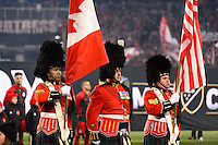 Toronto, ON, Canada - Saturday Dec. 10, 2016: Color guard prior to the MLS Cup finals at BMO Field. The Seattle Sounders FC defeated Toronto FC on penalty kicks after playing a scoreless game.