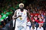 S&ouml;dert&auml;lje 2015-04-19 Basket SM-Final 1 S&ouml;dert&auml;lje Kings - Uppsala Basket :  <br /> Uppsalas Brice Massamba under matchen mellan S&ouml;dert&auml;lje Kings och Uppsala Basket <br /> (Foto: Kenta J&ouml;nsson) Nyckelord:  S&ouml;dert&auml;lje Kings SBBK T&auml;ljehallen Basketligan SM SM-Final Final Uppsala Basket portr&auml;tt portrait