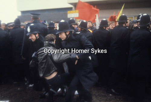 Arrest of demonstrator Right to Work campaign, outside the Conservative Party Annual Conference Brighton 1981 The People's March for Jobs