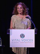 Washington, DC - June 17, 2014: Fashion designer Diane von Furstenberg introduces Human Rights Award recipient Priti Patkar at the Vital Voices Global Leadership Awards at the John F. Kennedy Center in the District of Columbia, June 17, 2014.    (Photo by Don Baxter/Media Images International)