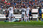 05.10.2019, Benteler Arena, Paderborn, GER, 1.FBL, SC Paderborn 07 vs 1. FSV Mainz 05<br /> <br /> DFL REGULATIONS PROHIBIT ANY USE OF PHOTOGRAPHS AS IMAGE SEQUENCES AND/OR QUASI-VIDEO.<br /> <br /> im Bild / picture shows<br /> Robin Zentner (FSV Mainz 05 #27) sichert mit letzter Aktion vor Schlusspfiff Sieg und drei Punkte, <br /> <br /> Foto © nordphoto / Ewert