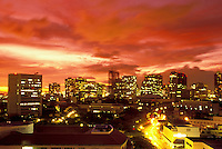Downtown Honolulu skyline at sunset.