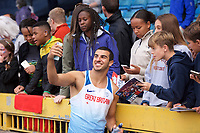 Adam Gemili (Great Britain) having a selfie after competing in the men's 100m during the IAAF Diamond League Athletics Müller Grand Prix Birmingham at Alexander Stadium, Walsall Road, Birmingham on 18 August 2019. Photo by Alan  Stanford.