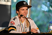 10th September 2017, Smithfield Forest, Cairns, Australia; UCI Mountain Bike World Championships; third place Tracey Hannah (AUS) at the press conference after the elite womens downhill race;