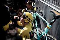 Last team to start is also the winning team at the finish; Team Jumbo-Visma wins the TTT and (almost) all of the jerseys > their post-finish joy is as high.<br /> Yellow jersey / GC leader Mike Teunissen (NED/Jumbo-Visma) absorbing all the emotions<br /> <br /> Stage 2 (TTT): Brussels to Brussels (BEL/28km) <br /> 106th Tour de France 2019 (2.UWT)<br /> <br /> ©kramon