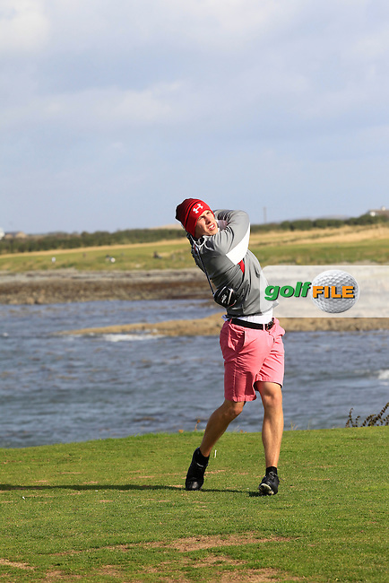 Alex Gleeson (Castle) on the 13th tee during Round 3 of the Irish Youths Amateur Close Championship in Ardglass Golf Club on Friday 29th August 2014.<br /> Picture:  Thos Caffrey / www.golffile.ie