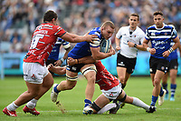 Sam Underhill of Bath Rugby takes on the Gloucester Rugby defence. Gallagher Premiership match, between Bath Rugby and Gloucester Rugby on September 8, 2018 at the Recreation Ground in Bath, England. Photo by: Patrick Khachfe / Onside Images